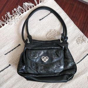 Bueno Black Leather Snakeskin Print Handbag